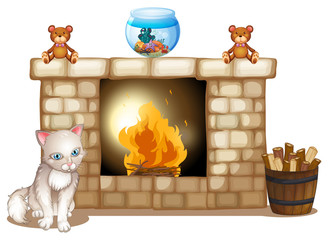 A sad cat near the fireplace