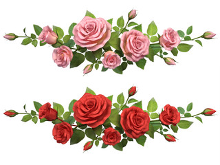 Horisontal border with roses branches.