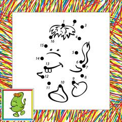 Funny vector alien (second) dot to dot
