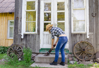 Worker woman clean sweep stairs with wooden broom