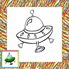 Cartoon vector rocket (fourth). Coloring book