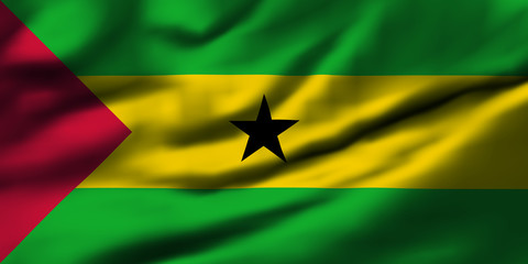 Waving flag, design 1 - Sao Tome and Principe