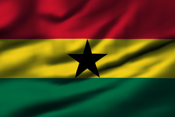 Waving flag, design 1 - Ghana
