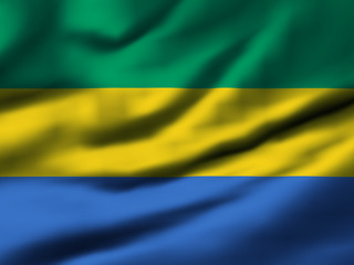 Waving flag, design 1 - Gabon