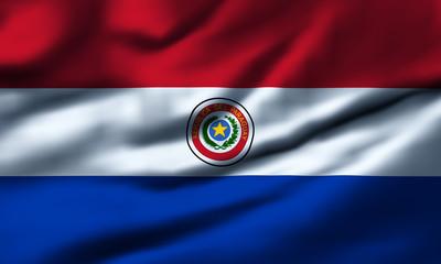 Waving flag, design 1 - Paraguay