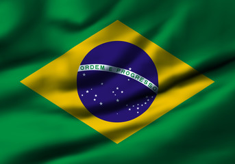 Waving flag, design 1 - Brazil