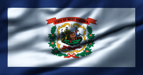 Waving flag, design 1 - West Virginia