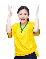Soccer fans raise up hand for celebration