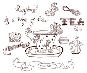 Tea time doodle background