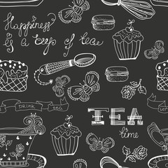 Black and white tea time pattern