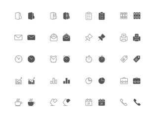 Outline and filled office icon set
