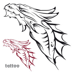 Sketch of tattoo with a dragon's head.
