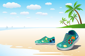 sea icon on green shoe, travel concept