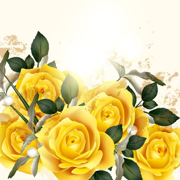 Beautiful vector background with beige roses
