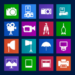 Metro style collection of Camera and accessory icons.Vector EPS1