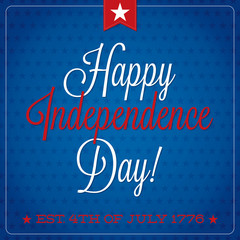 Independence Day typographic card in vector format.