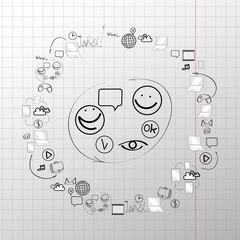 Doodle design vector set concept  for cooperation