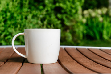 coffee cup in green garden on table
