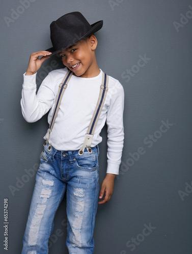 792b0afcb12 Portrait of a little boy smiling with hat
