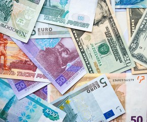 banknotes dollar, zloty, rubel, euro, hryvna
