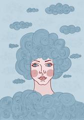Fabulous girl with hair cloud