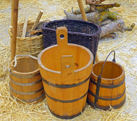 A group of buckets wood