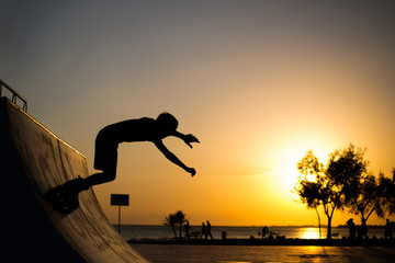 Roller skater jumps