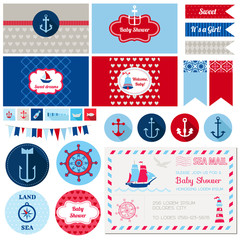 Scrapbook Design Elements - Baby Shower Nautical Theme