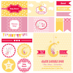 Scrapbook Design Elements - Baby Shower Bunny Theme - in vector