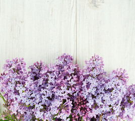 Wall Murals Lilac beautiful lilac on white wooden surface