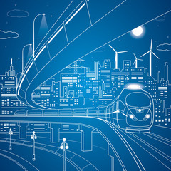 Vector lines train on the bridge, background night city
