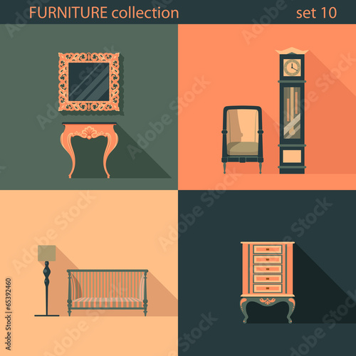 creative furniture icons set flat design. \ Creative Furniture Icons Set Flat Design L
