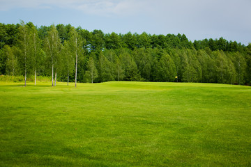 lush fairway in the foreground contrast in the distance at a gol