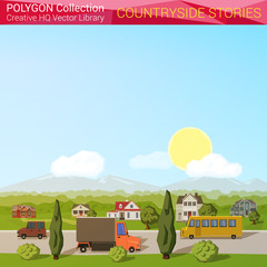Polygonal style countyside concept. Architecture design elements
