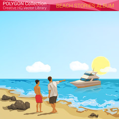 Polygonal style beach people concept. Vacation design elements.
