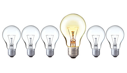 light bulbs in row show Big idea, Creative and leader concept