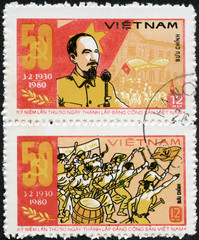 stamp printed in Vietnam shows Ho Chi Minh
