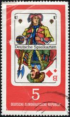 stamp shows German Playing Cards Georg Herwegh, poet