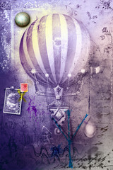 Acrylic Prints Imagination Hot air balloon in grunge background