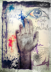 Canvas Prints Imagination Old graffiti background with hand