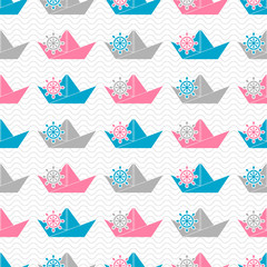 Seamless pattern with paper boats and hand wheels on waves