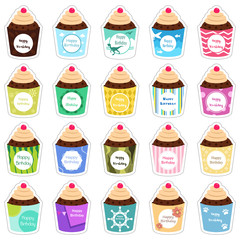 Birthday cupcakes icons