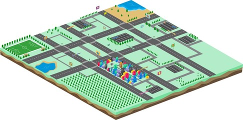 game assets isometric city cartoon landscape view