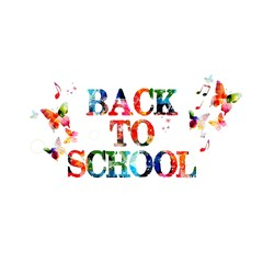 "Colorful vector ""BACK TO SCHOOL"" background with butterflies"
