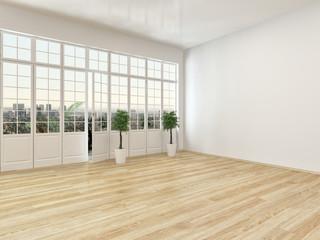 Empty living room interior with parquet floor