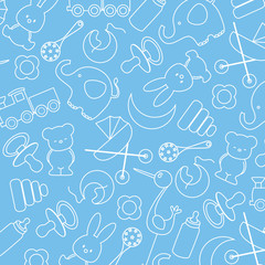 Blue background with baby icons