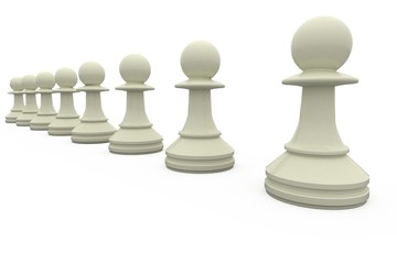 White chess pawns in a row