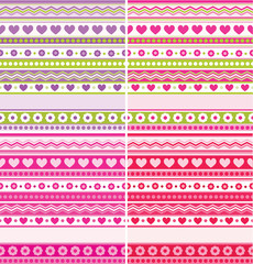 Cute seamless backgrounds hearts flowers dots pink purple