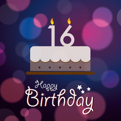 Happy 16th Birthday - Bokeh Vector Background with cake