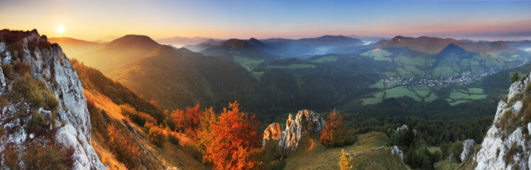 Panorama - Fall in Slovakia mountain Fatras